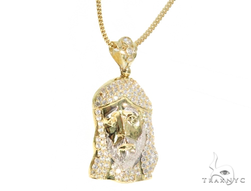 10k Yellow Gold Jesus Franco Chain Set 44399 Style