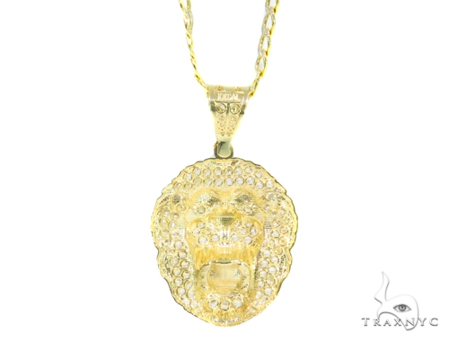 10k Yellow Gold Lion Cuban/Curb Chain Set 44462 Metal