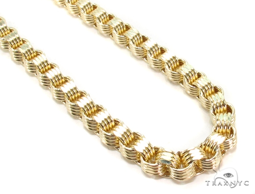 10k Yellow Gold Rolo Fancy Chain 24 Inches 5.5mm 21.48 Grams 49758 Gold