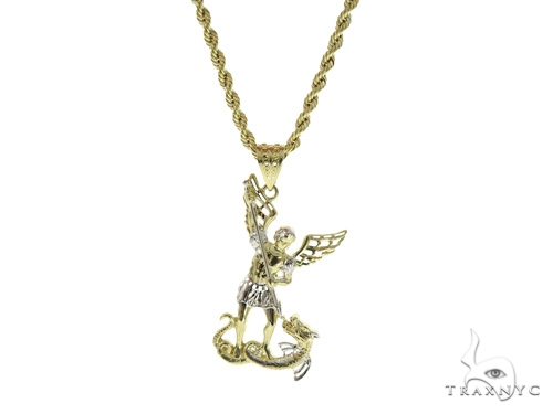 10k Yellow Gold Saint Michael Pendant and Rope Chain Set 44187 Style