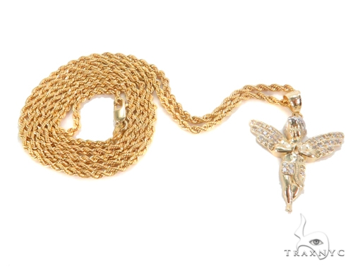 10k Yellow Gold Small Angel Pendant and Rope Chain Set 49767 Metal
