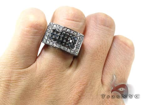 Black Diamond 5 Row Prong Ring Stone