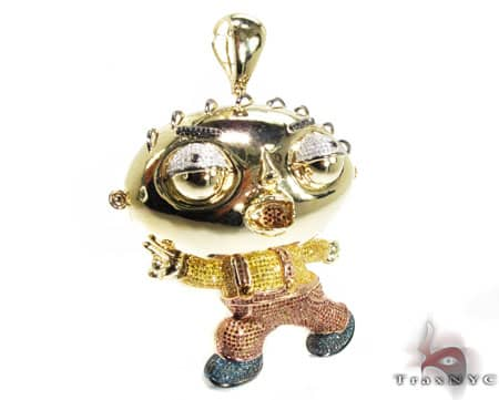 Custom Jewelry - Diamond Stewie Pendant Metal