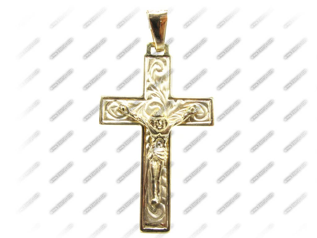 aledus cross mens gold cross pendant yellow gold 14k