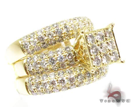yg hannah wedding ring set ladies engagement yellow gold 14k - 14k Gold Wedding Ring Sets