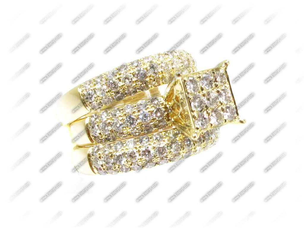 yg wedding ring set engagement yellow gold 14k