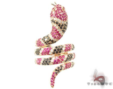 Ruby White and Black Diamond Serpent Ring Anniversary/Fashion