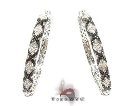 Eve Black & White Diamond Hoops Diamond Hoop Earrings