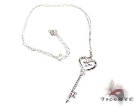 Diamond & Silver Heart Key Pendant Metal