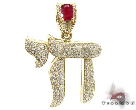 Custom Jewelry - Ruby Chai Pendant Diamond Pendants