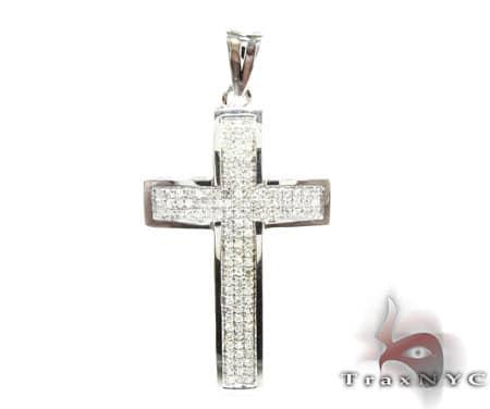 White Gold Mini 3 Row Cross Diamond