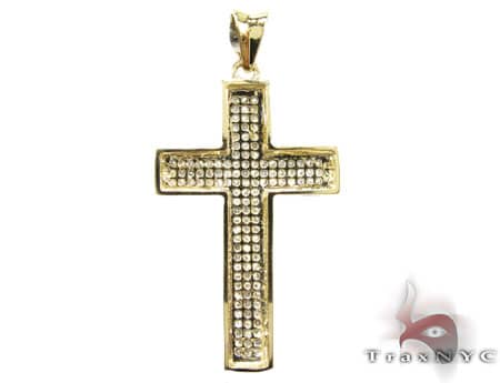 Yellow Gold Mini 3 Row Cross Diamond
