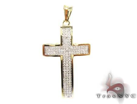 Yellow Gold Mini 3 Row Cross Diamond