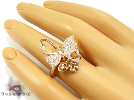 Butterfly and Heart Charms Ring Anniversary/Fashion
