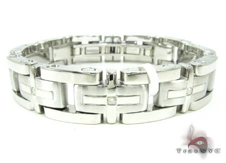 Mens Diamond Bracelet White Stainless Steel Round Cut H Color SI 0.27ct