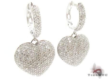 Heart Chandelier Earrings Stone
