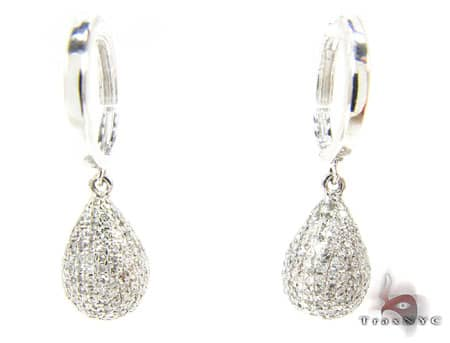 Full Diamond Teardrop Earrings Stone