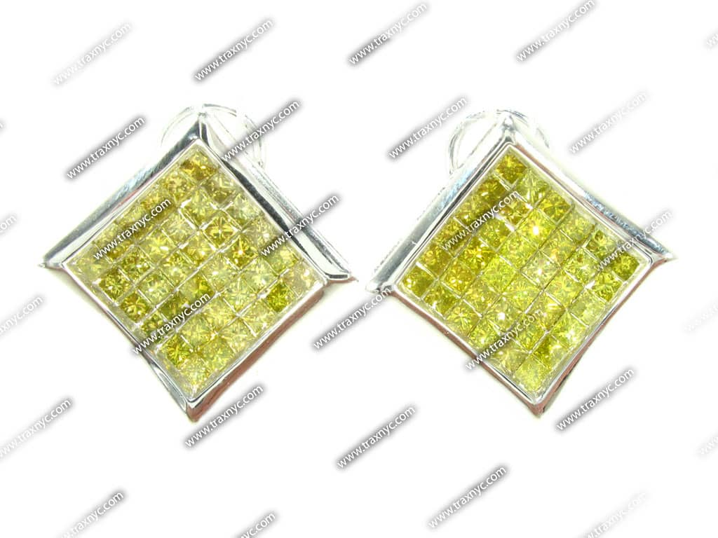 Square Canary Earrings Mens Diamond Earring White Gold 14k