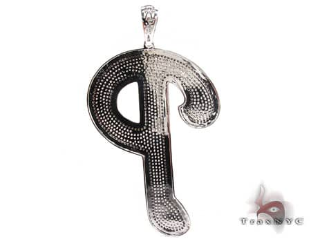 Black Outline P Pendant Metal