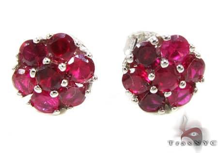 Red Diamond Cluster Earrings Stone