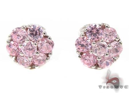 Pink Diamond Cluster Earrings Stone