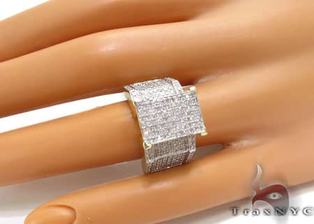 10K Yellow Gold Diamond Herringbone Ring Anniversary/Fashion