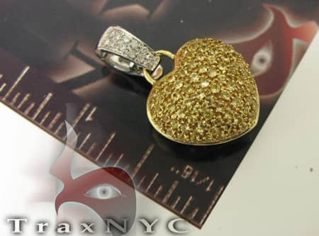 14K Gold Canary Sapphire Heart Charm Stone
