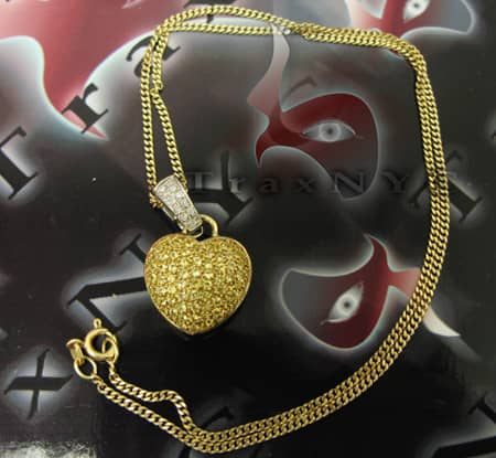 14K Gold Canary Sapphire Heart Charm Stone