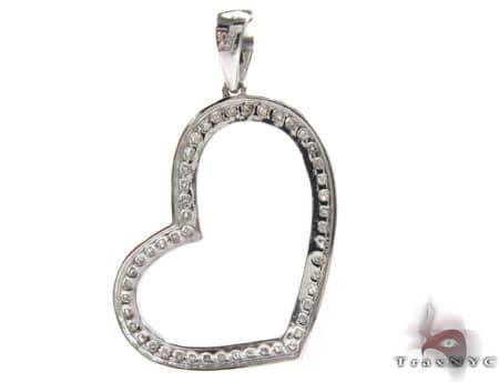 Mini Channel Heart Pendant Stone