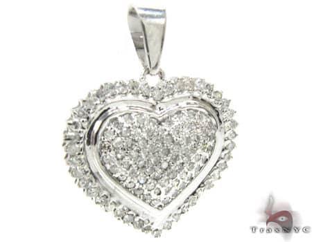 Ridged Heart Pendant 2 Stone