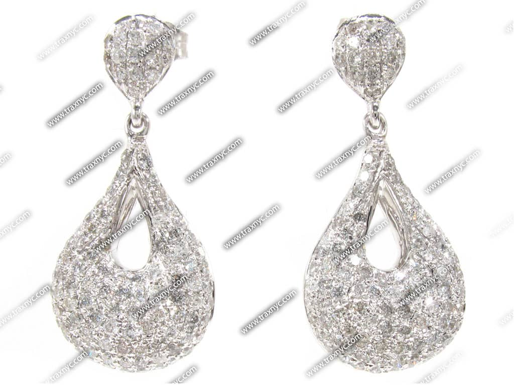 Popular  Diamond 14K White Gold Beautiful Solitaire Womens Stud Earrings 010ct