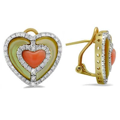 Coral Diamond Heart Gemstone Earrings in Yellow Gold