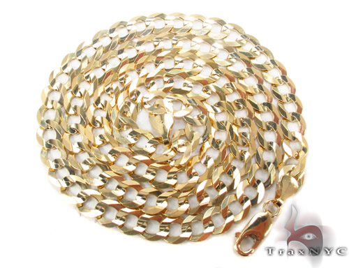 14k Gold Curb Chain 24 Inches 7mm 28.1 Grams Gold