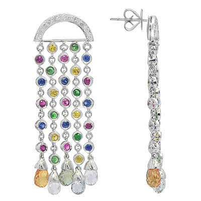 White Gold Multicolor Gemstone & Diamond Chandelier Earrings Stone