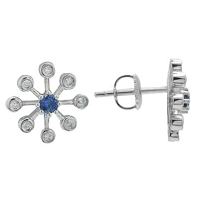 Sapphire & Diamond Star Earrings in White Gold Stone