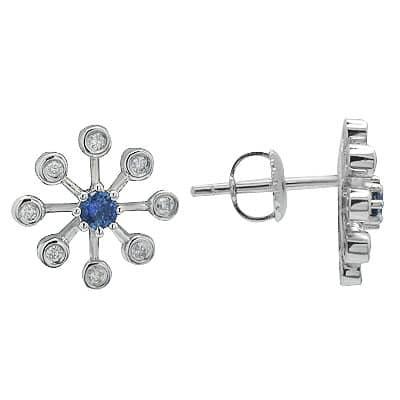 Sapphire & Diamond Star Earrings in White Gold Stone