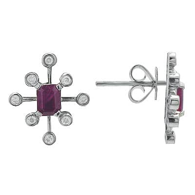 White Gold Ruby Diamond Gemstone Earrings Stone