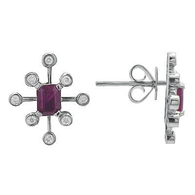 White Gold Ruby Diamond Gemstone Earrings Stone
