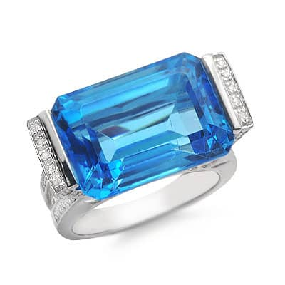solitaire emerald cut blue topaz and large