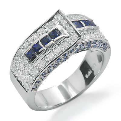 sapphire and unique gemstone ring in white gold 14444