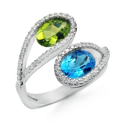 blue topaz peridot and unique gemstone ring in