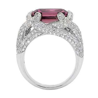 Solitaire Emerald Cut Pink Tourmaline and Diamond Large Gemstone Ring in White Gold Anniversary/Fashion