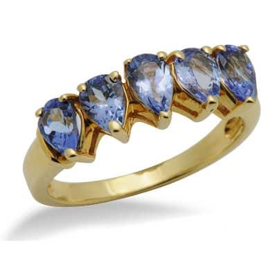 tanzanite unique gemstone ring in yellow gold 14633