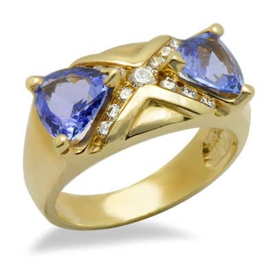 trilliant cut tanzanite and unique gemstone ring
