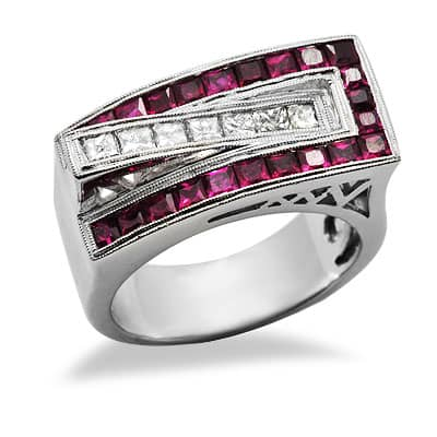 ruby unique gemstone ring in white gold 14680