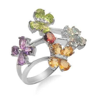 White Gold Multi Colored Gemstone Flower Ring Anniversary/Fashion