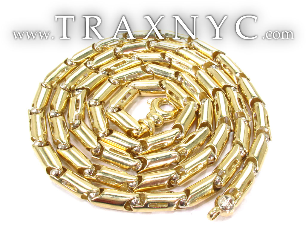 Barrel Link Chain 28 Inches 5mm Mens Gold Chain Yellow