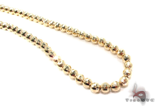14K Yellow Gold Moon Cut Bead Chain 18-22 Inch 6mm Images ...