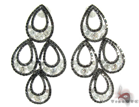 14K Gold Black and White Diamond Gorgeous Earrings 25597 Diamond Chandelier Earrings