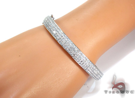 14K Gold Diamond 4 Row Bangle Bracelet 25424 Diamond